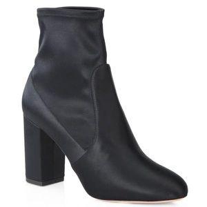 Aquazzura navy ankle sock heel boots sz 36.5